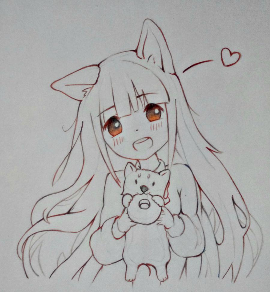 Рисуем аниме-девочку с лисенком цветными карандашами - шаг 9