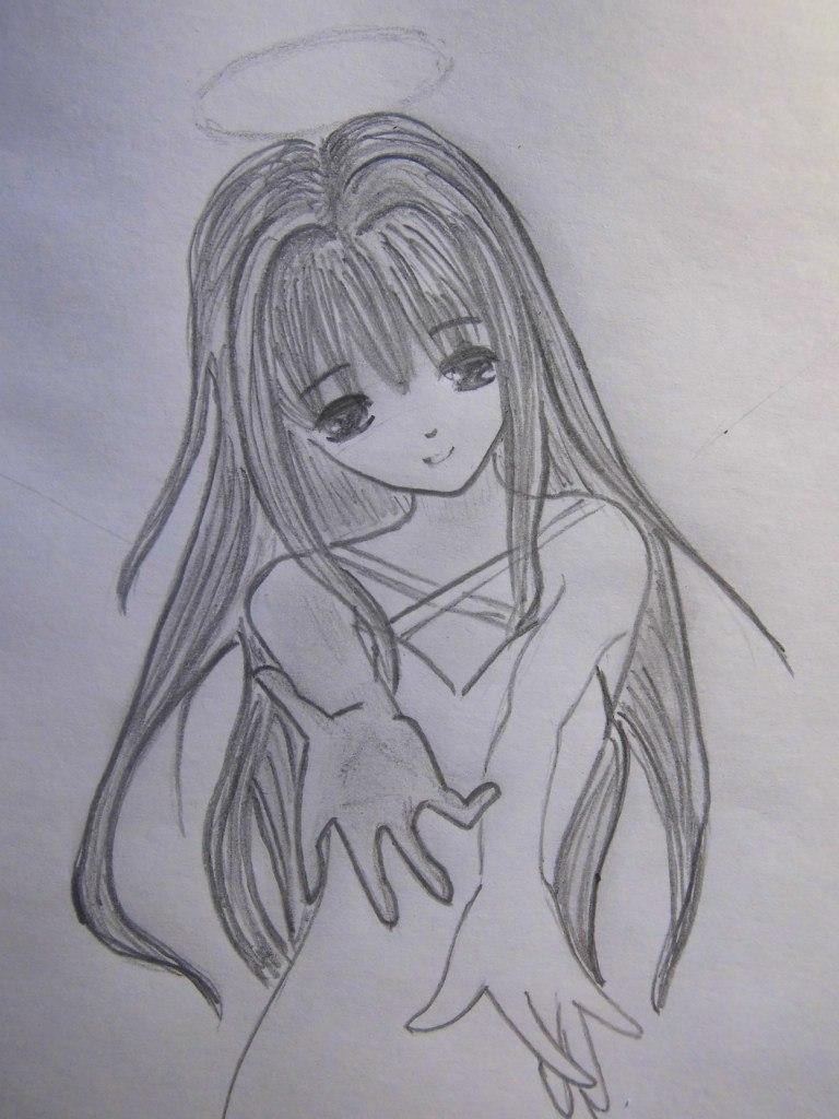 Рисуем аниме ангела - шаг 5
