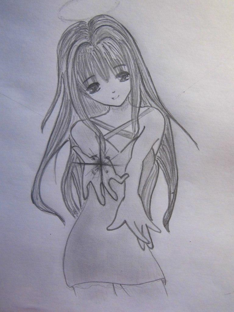 Рисуем аниме ангела - шаг 6
