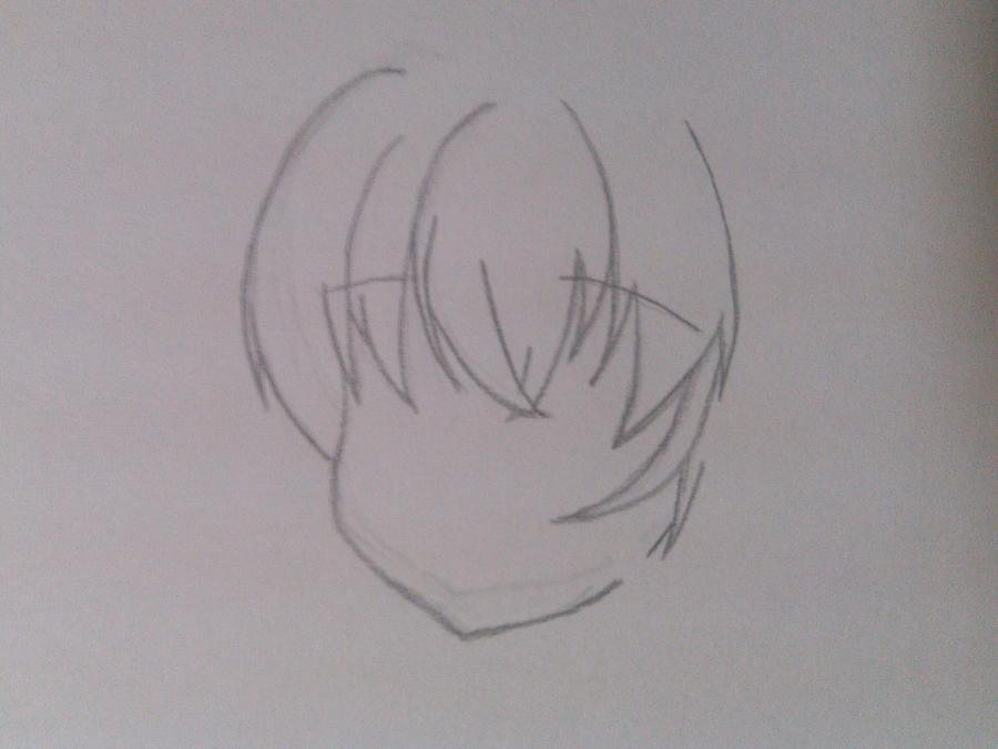 Рисуем и раскрасить аниме ангела с ушками - шаг 1