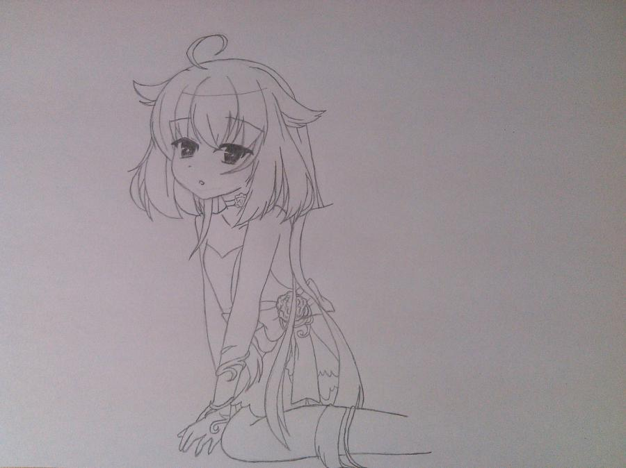 Рисуем и раскрасить аниме ангела с ушками - шаг 4