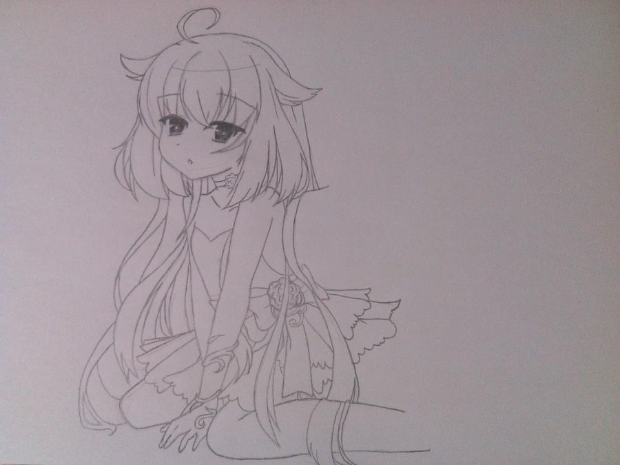 Рисуем и раскрасить аниме ангела с ушками - шаг 5