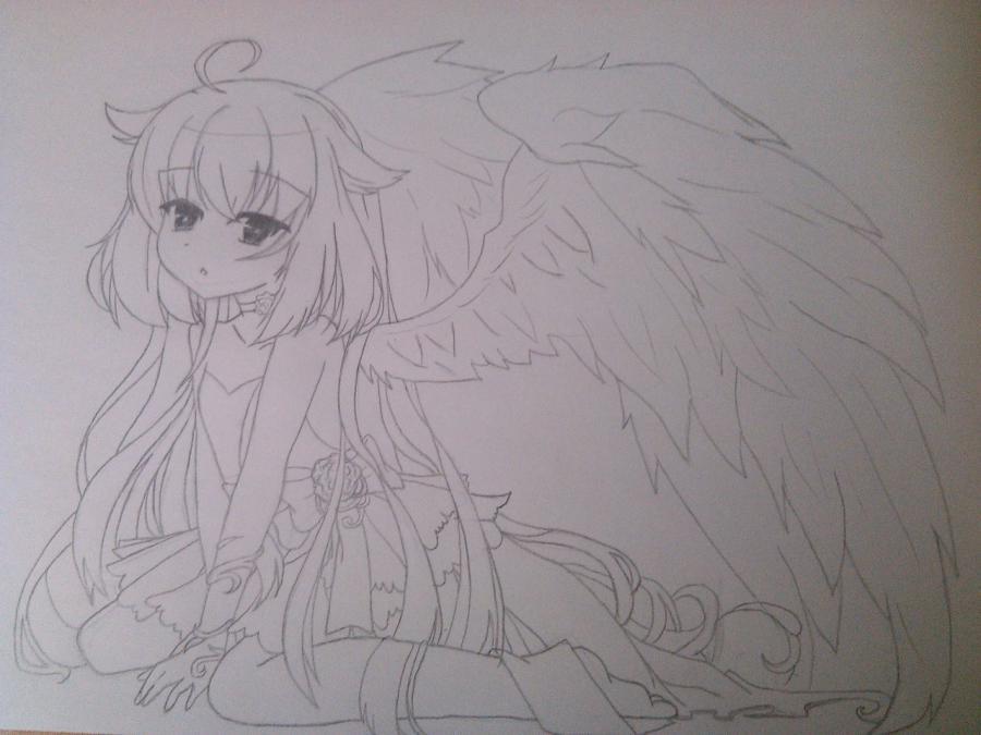 Рисуем и раскрасить аниме ангела с ушками - шаг 7