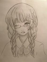 аниме арт девушку карандашом