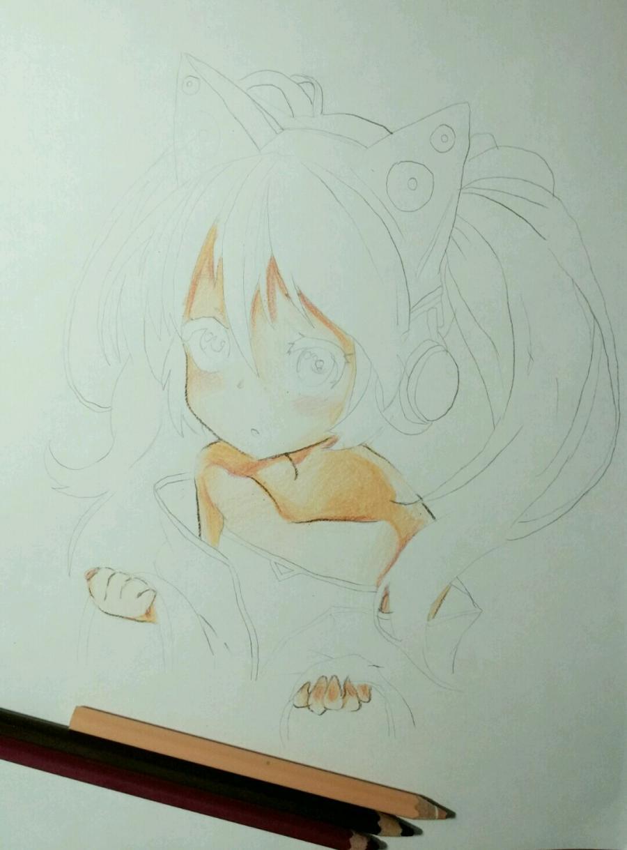 Рисуем аниме девочку в наушниках с кошачьими ушками - шаг 10