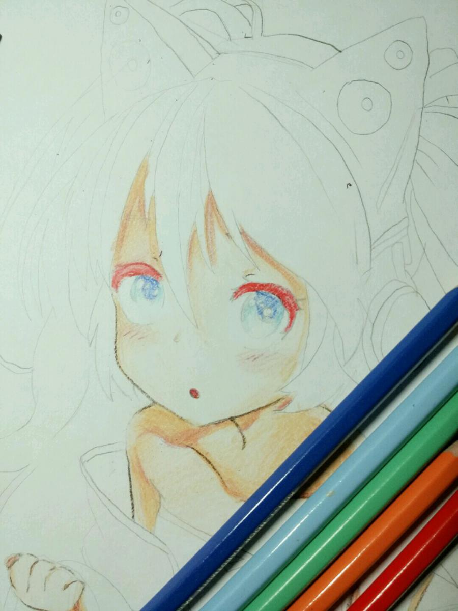 Рисуем аниме девочку в наушниках с кошачьими ушками - шаг 11