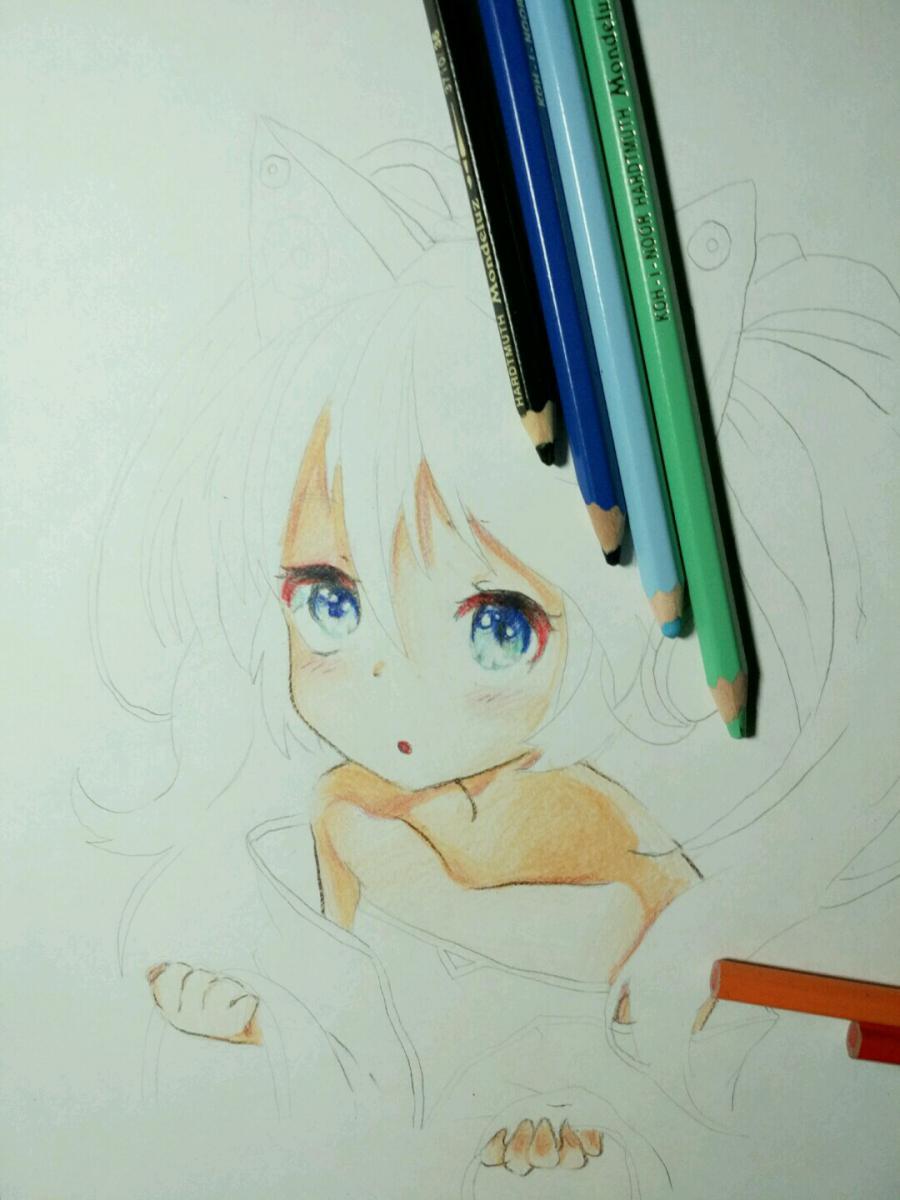 Рисуем аниме девочку в наушниках с кошачьими ушками - шаг 12