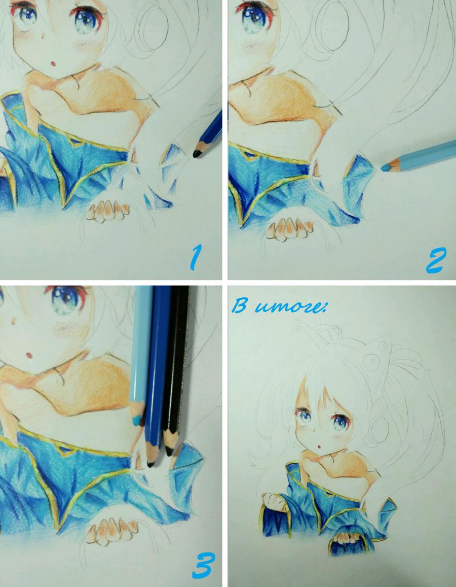 Рисуем аниме девочку в наушниках с кошачьими ушками - шаг 13