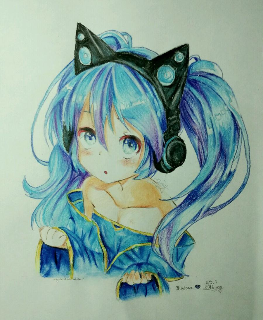 Рисуем аниме девочку в наушниках с кошачьими ушками - шаг 16
