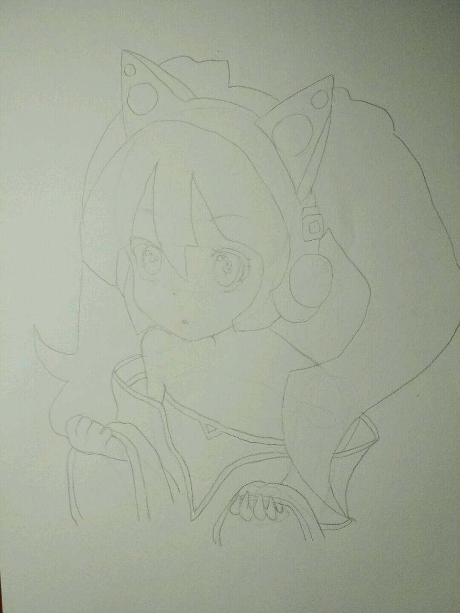 Рисуем аниме девочку в наушниках с кошачьими ушками - шаг 8