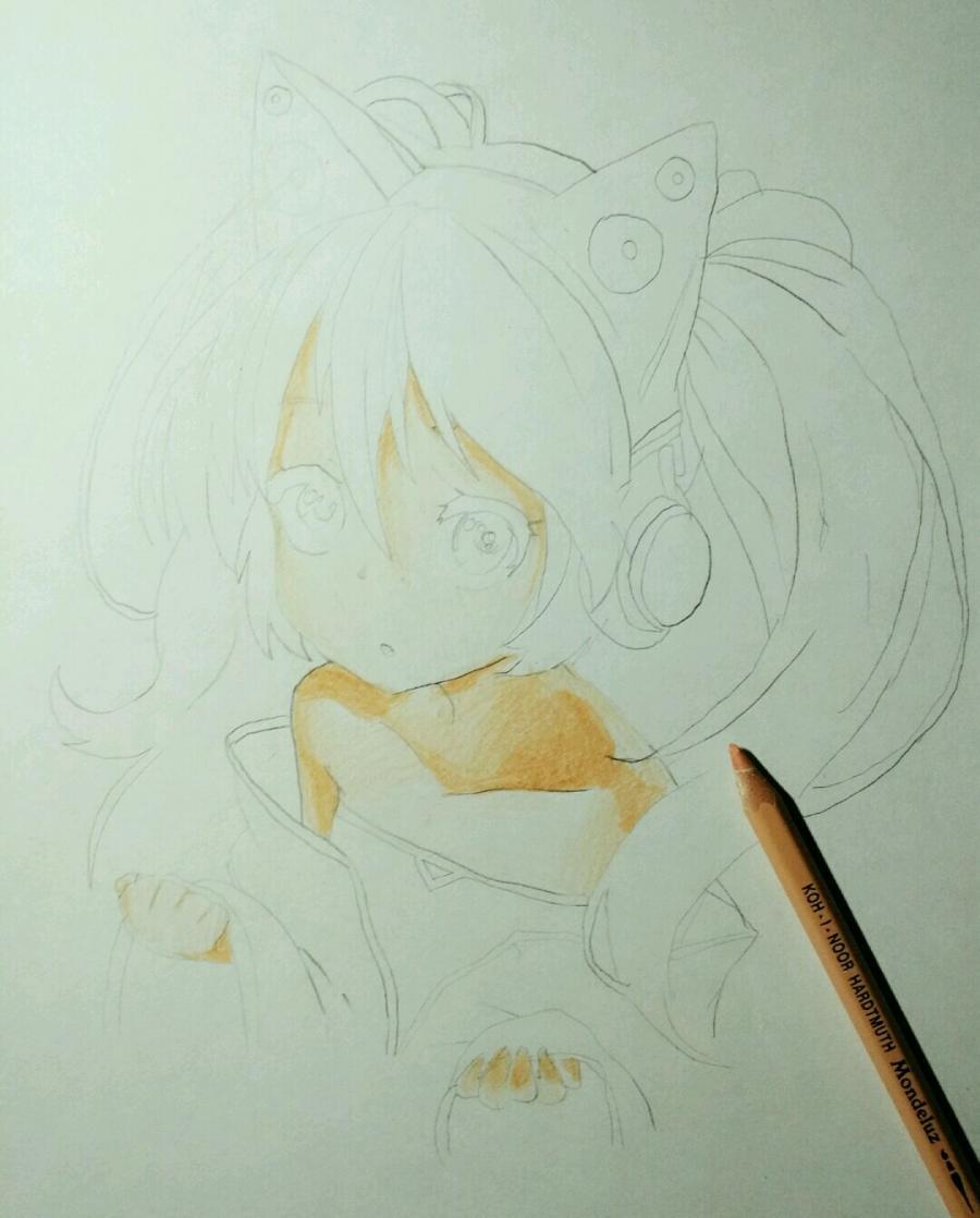 Рисуем аниме девочку в наушниках с кошачьими ушками - шаг 9