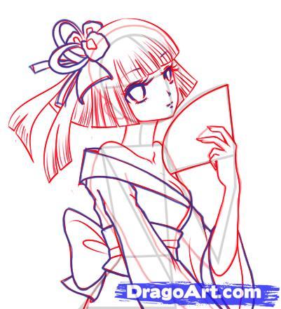 Рисуем аниме девушка в кимоно