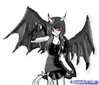 аниме девушку-демона карандашом