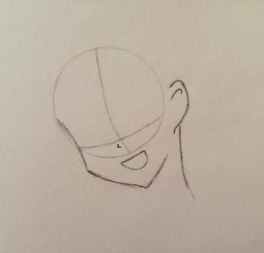 Рисуем аниме девушку-школьницу простым - шаг 2