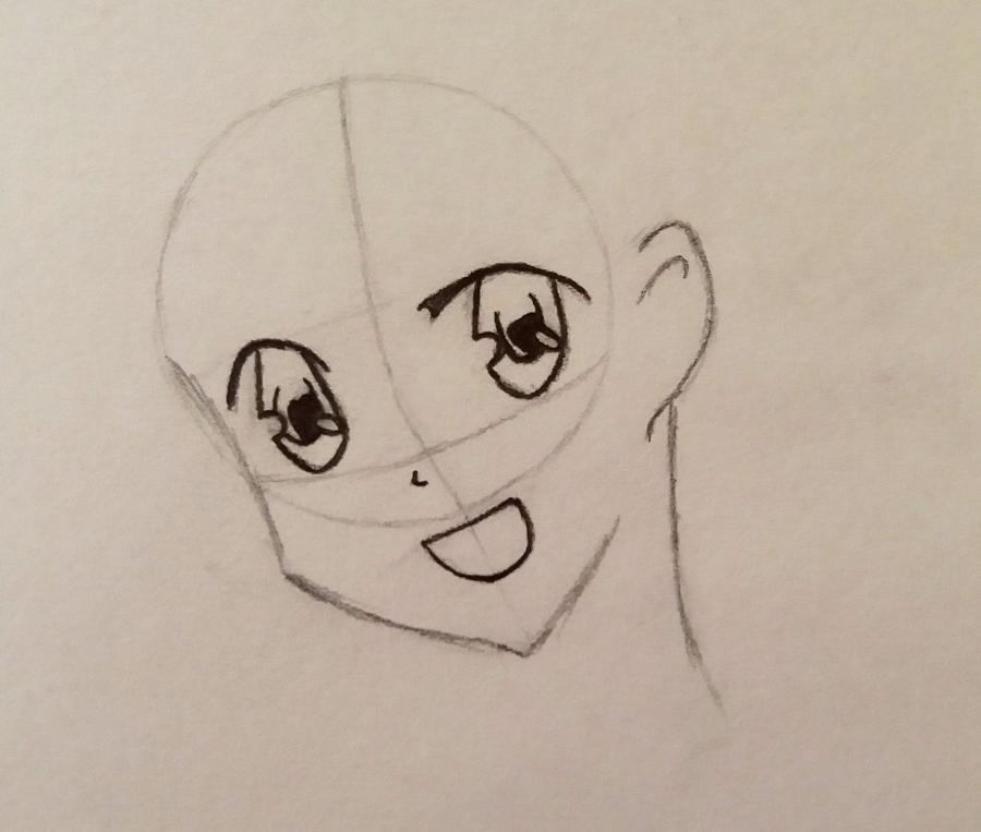 Рисуем аниме девушку-школьницу простым - шаг 3