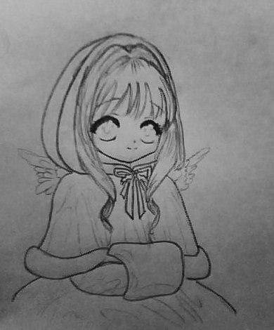 Рисуем аниме девушку ангела в новогодней одежде - шаг 4