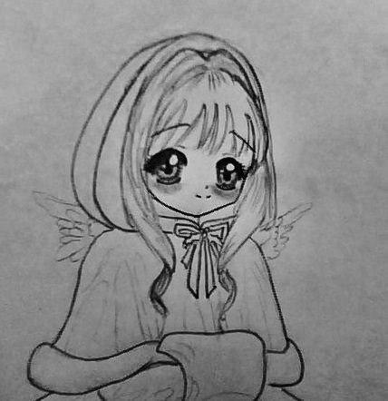 Рисуем аниме девушку ангела в новогодней одежде - шаг 5