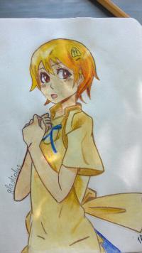 аниме девушку официантку цветными карандашами