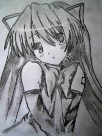 аниме девушку с длинными волосами карандашом