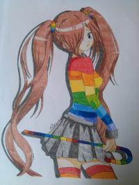 аниме девушку с хвостиками цветными карандашами