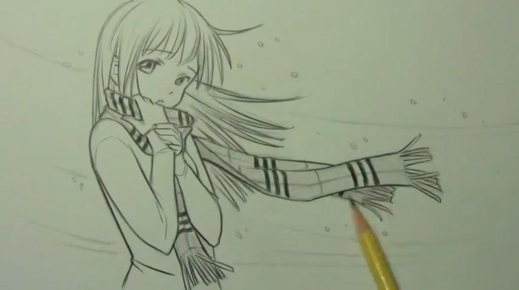 Рисуем аниме девушку с шарфом