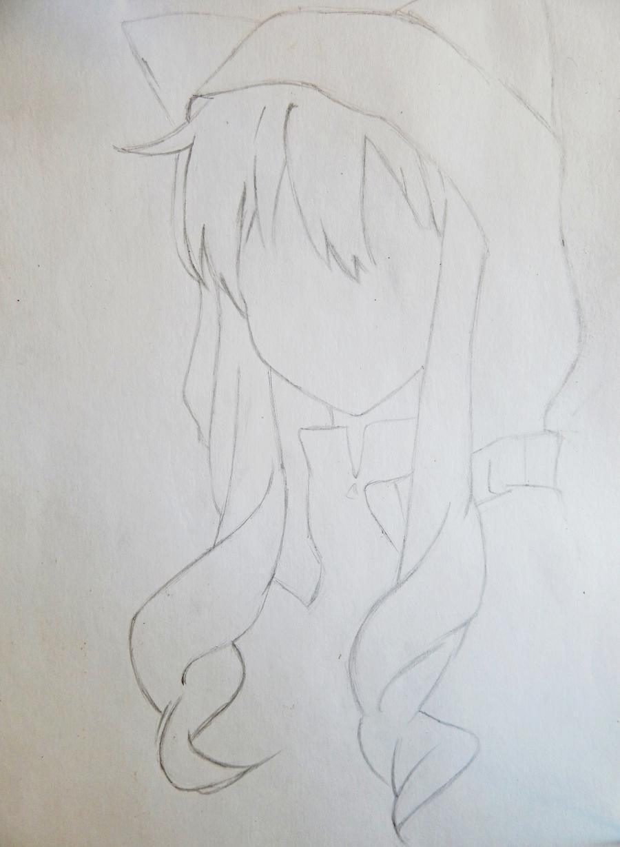Рисуем аниме девушку в капюшоне с ушками - шаг 2