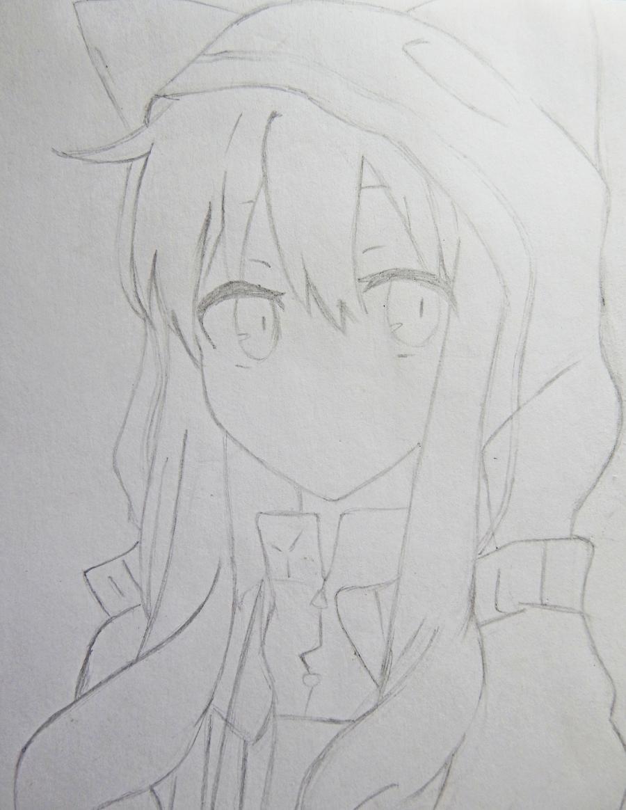 Рисуем аниме девушку в капюшоне с ушками - шаг 4
