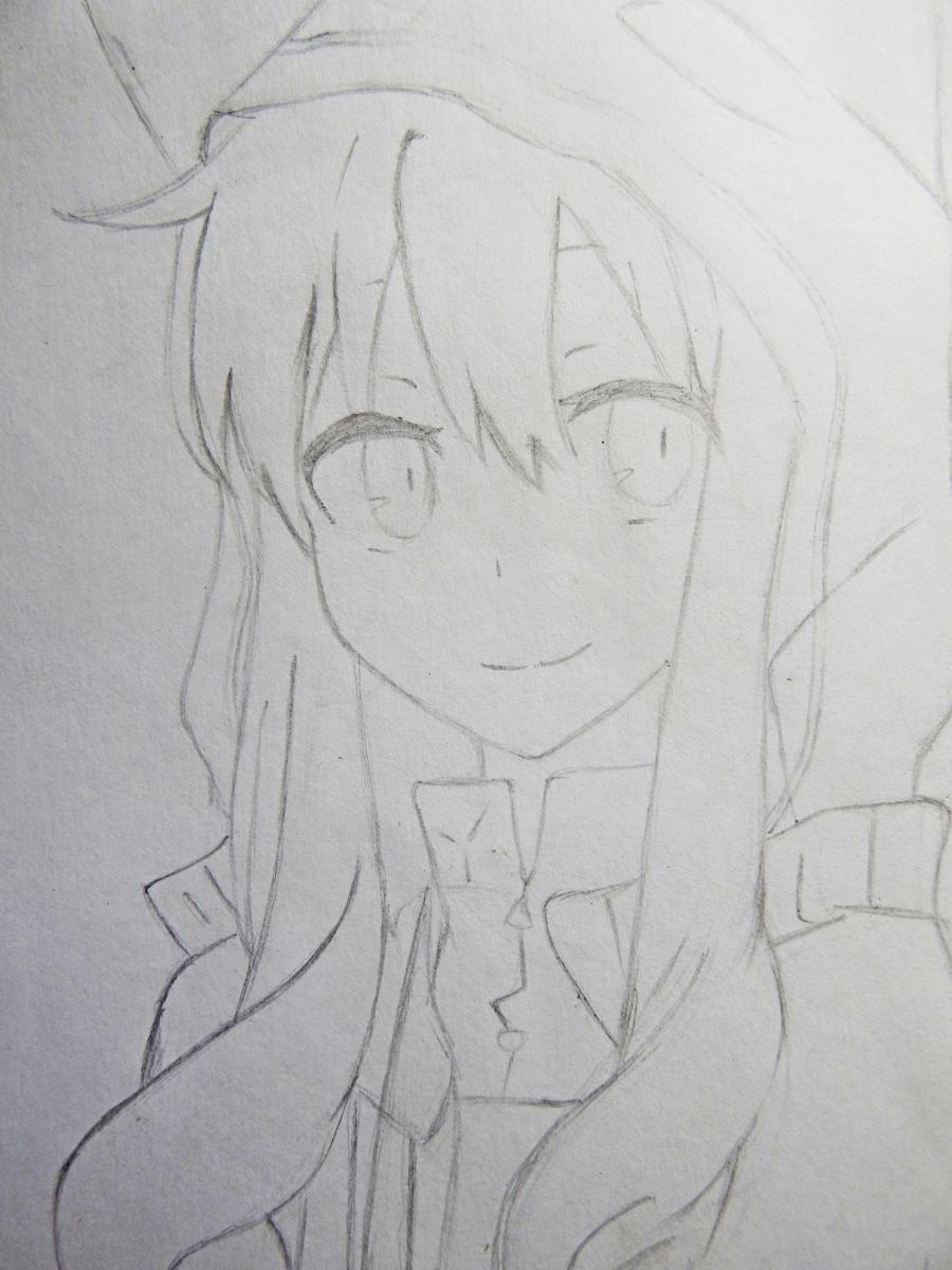 Рисуем аниме девушку в капюшоне с ушками - шаг 5