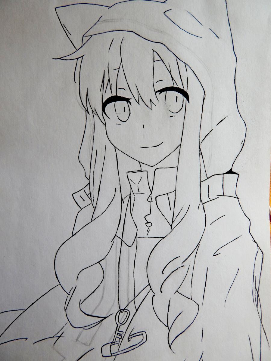 Рисуем аниме девушку в капюшоне с ушками - шаг 6