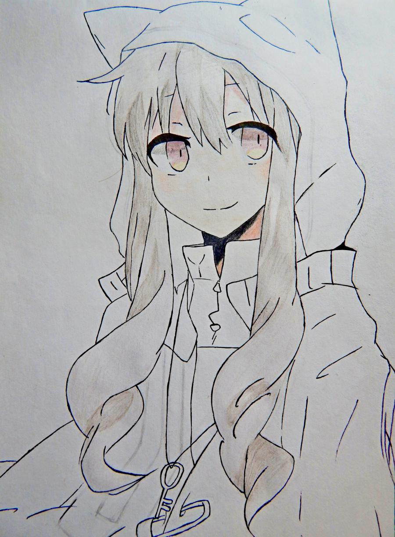 Рисуем аниме девушку в капюшоне с ушками - шаг 8