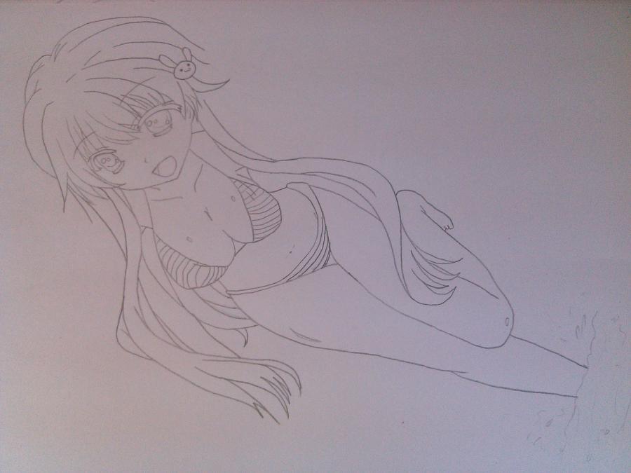 Рисуем аниме девушку в купальнике - шаг 7
