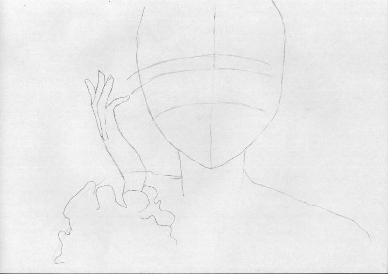 Рисуем портрет аниме девушки в наушниках - шаг 1