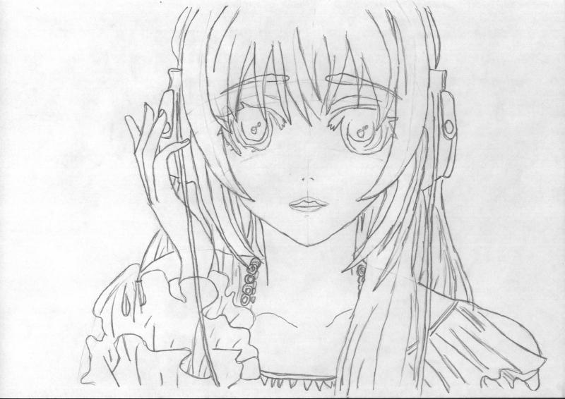Рисуем портрет аниме девушки в наушниках - шаг 3
