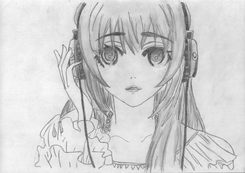 Рисуем портрет аниме девушки в наушниках - шаг 5