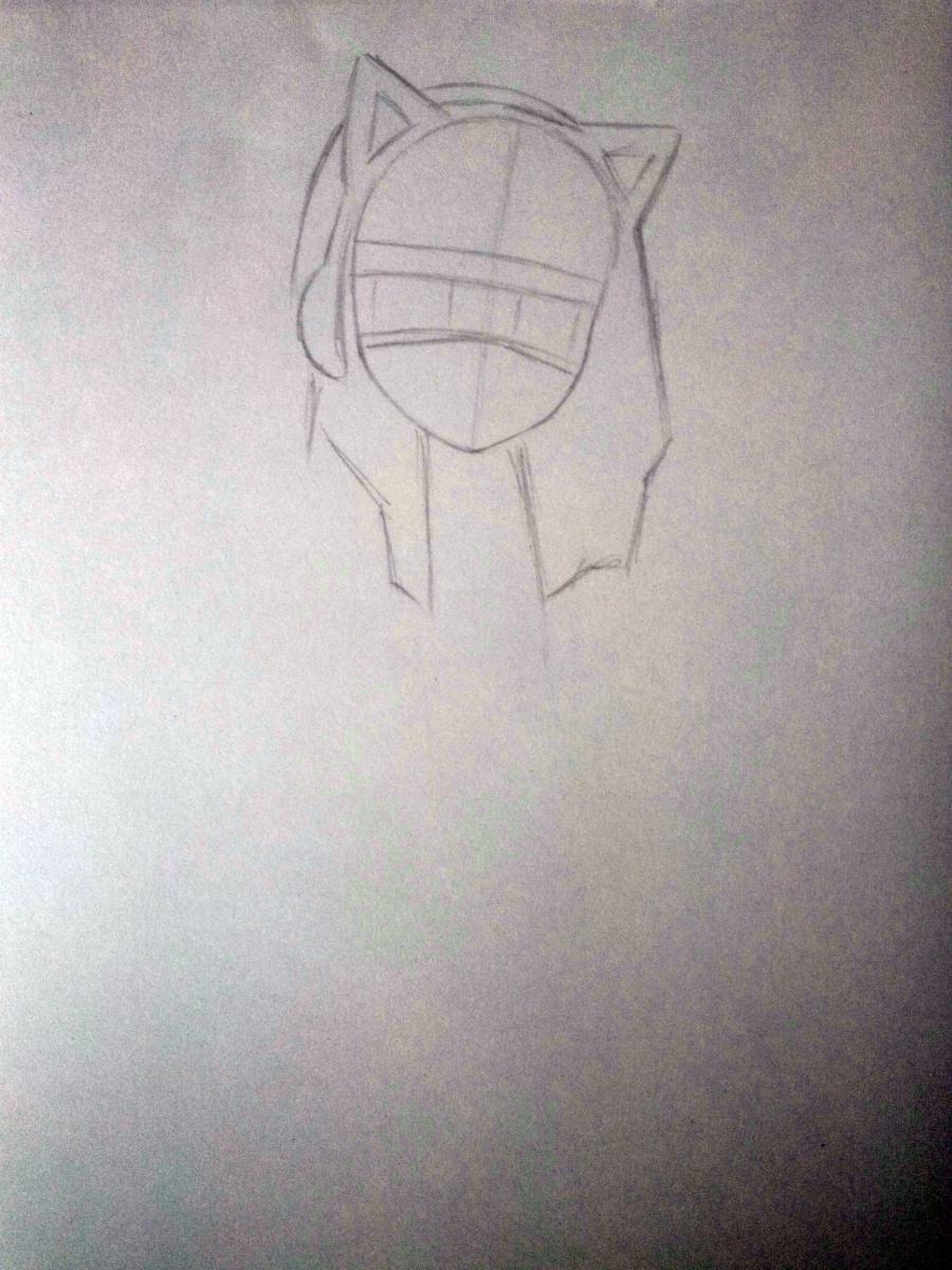 Рисуем аниме девушку в наушниках с кошачьими ушками в полный рост - шаг 2