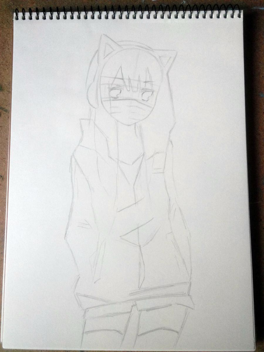 Рисуем аниме девушку в наушниках с кошачьими ушками в полный рост - шаг 5