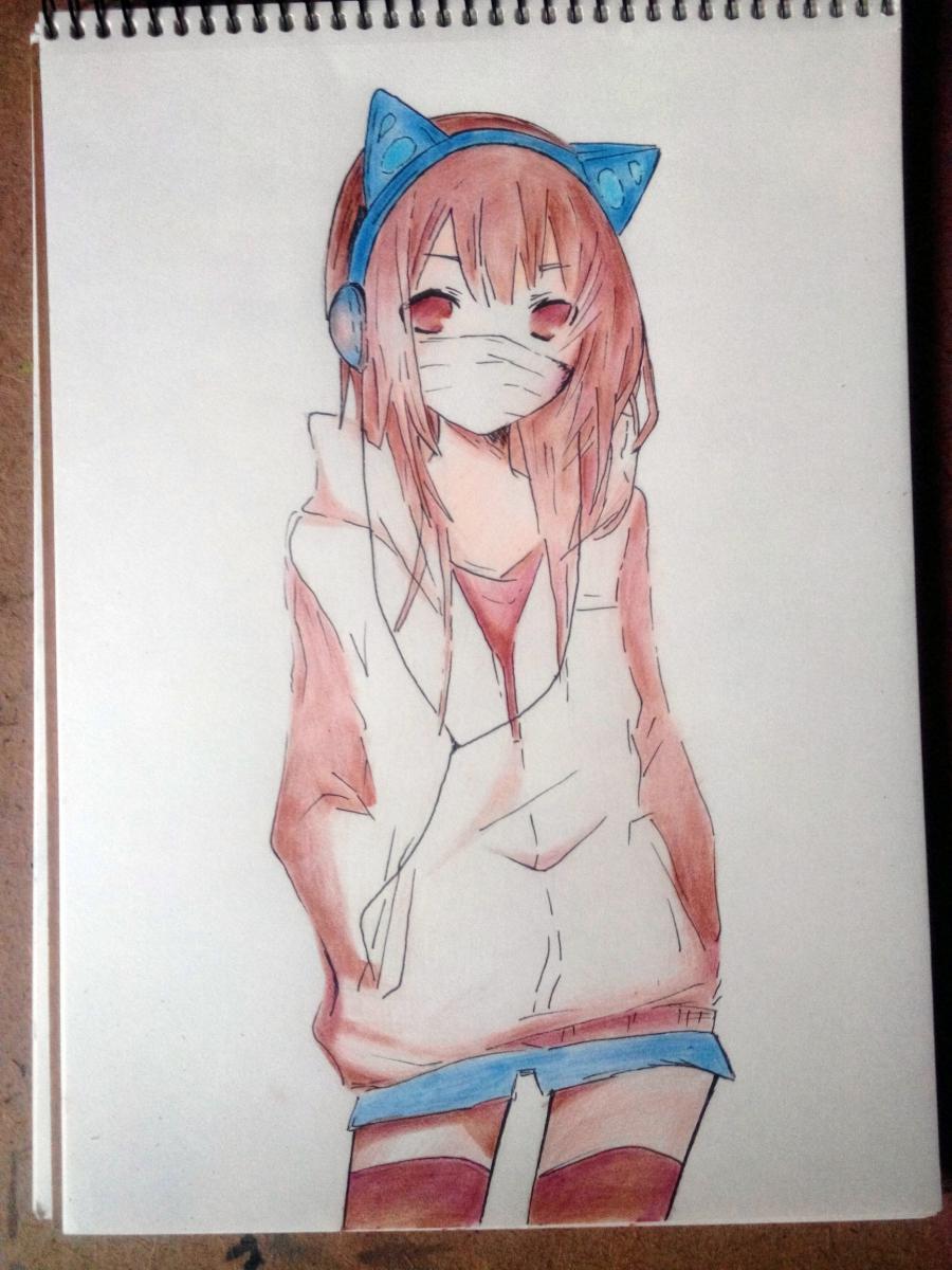 Рисуем аниме девушку в наушниках с кошачьими ушками в полный рост - шаг 8