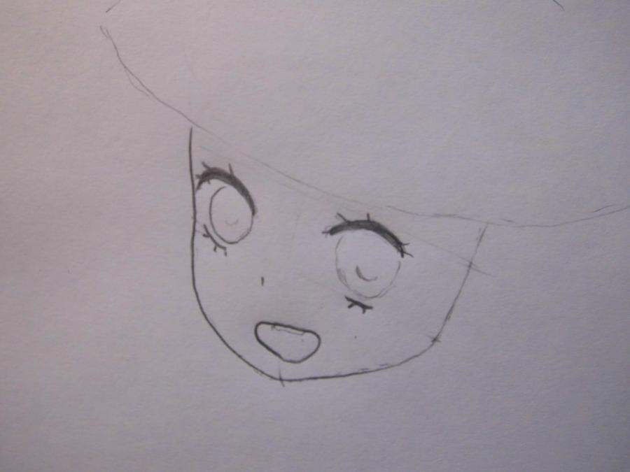 Рисуем аниме девушку в новогодней шапочке - шаг 2