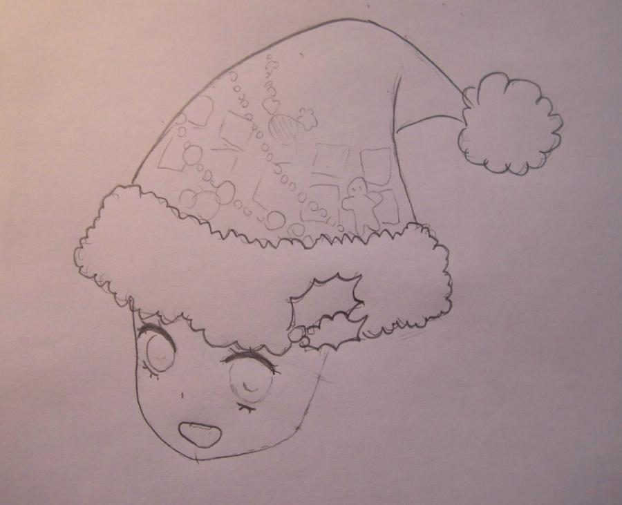 Рисуем аниме девушку в новогодней шапочке - шаг 3