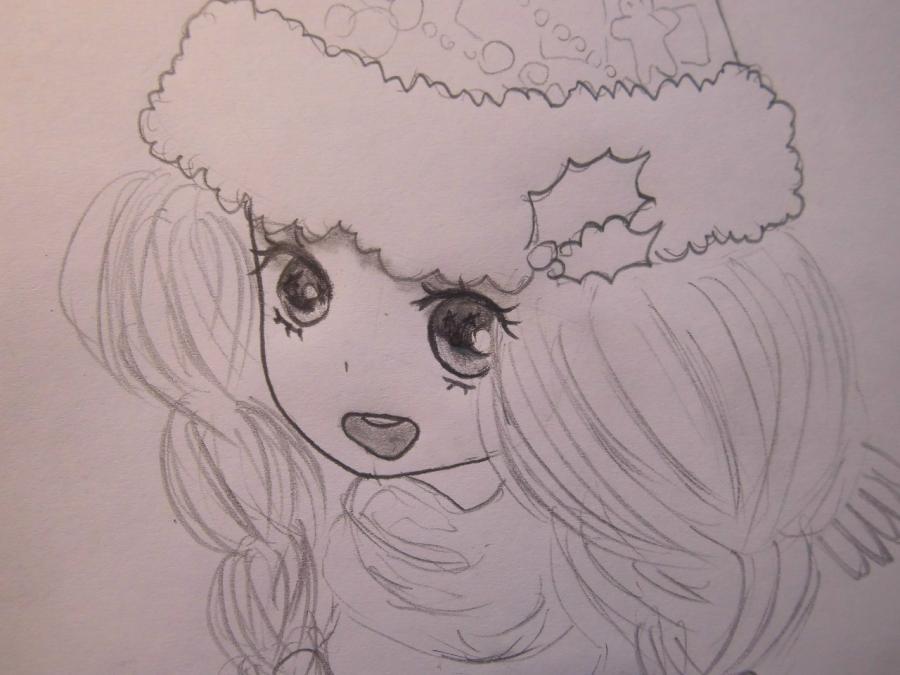 Рисуем аниме девушку в новогодней шапочке - шаг 5
