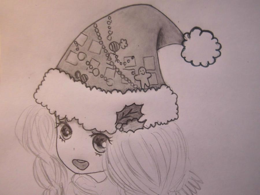Рисуем аниме девушку в новогодней шапочке - шаг 6