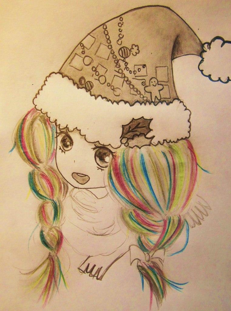 Рисуем аниме девушку в новогодней шапочке - шаг 7
