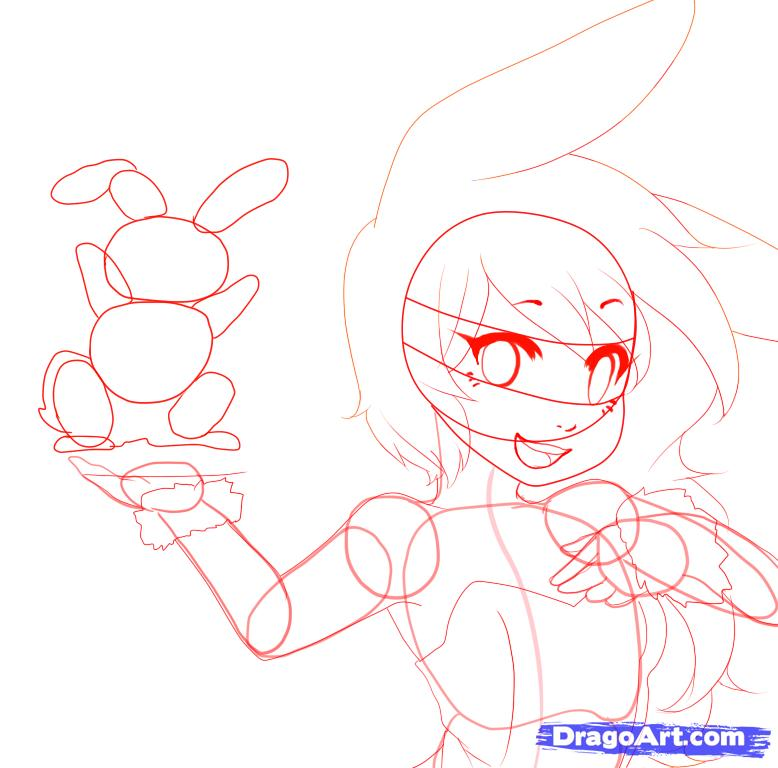 Рисуем аниме девушку зайку