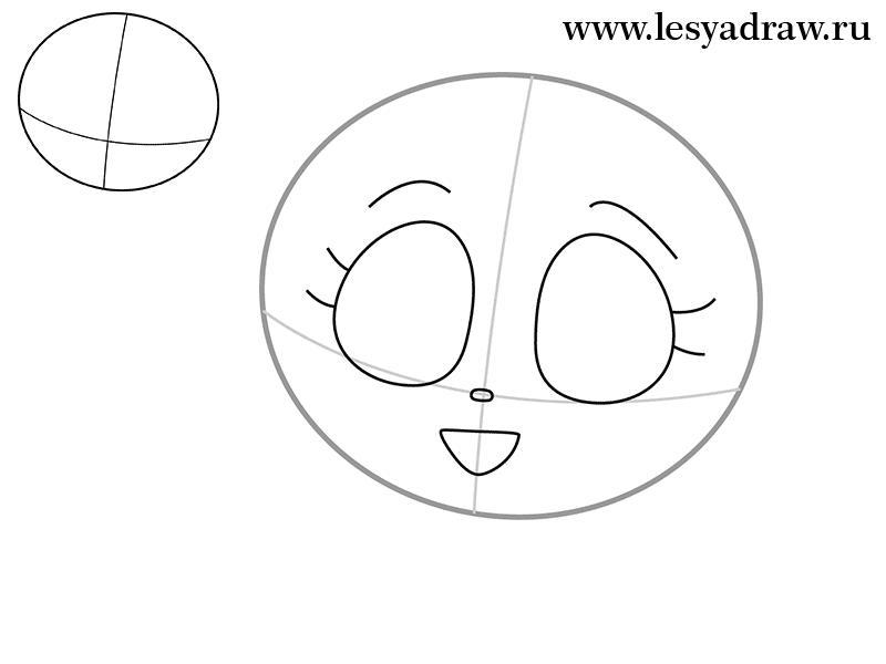 Рисуем кошку Луну из Сейлор Мун - шаг 1