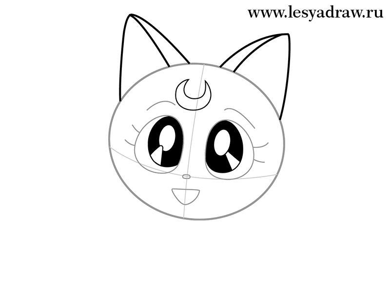 Рисуем кошку Луну из Сейлор Мун - шаг 2