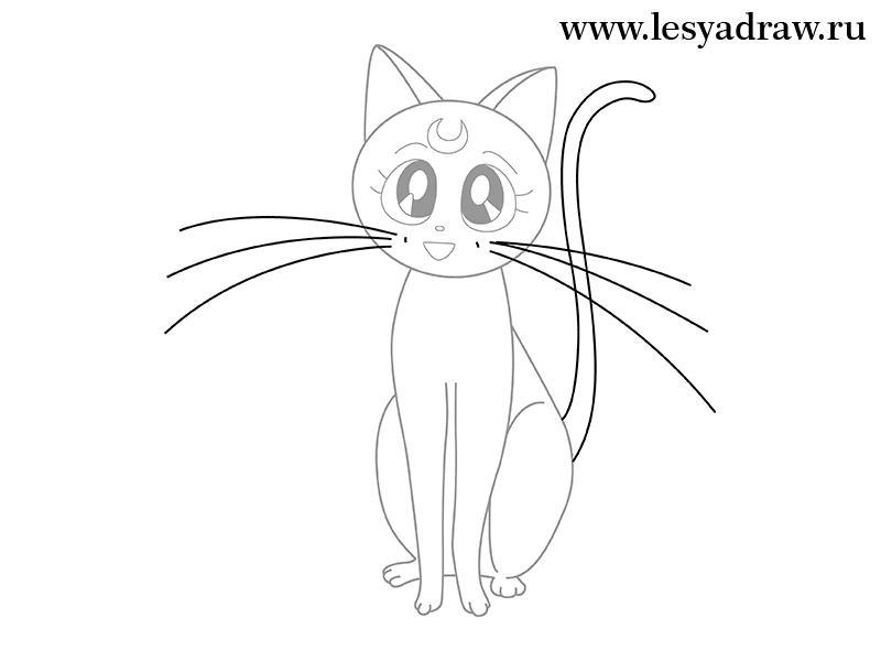 Рисуем кошку Луну из Сейлор Мун - шаг 4