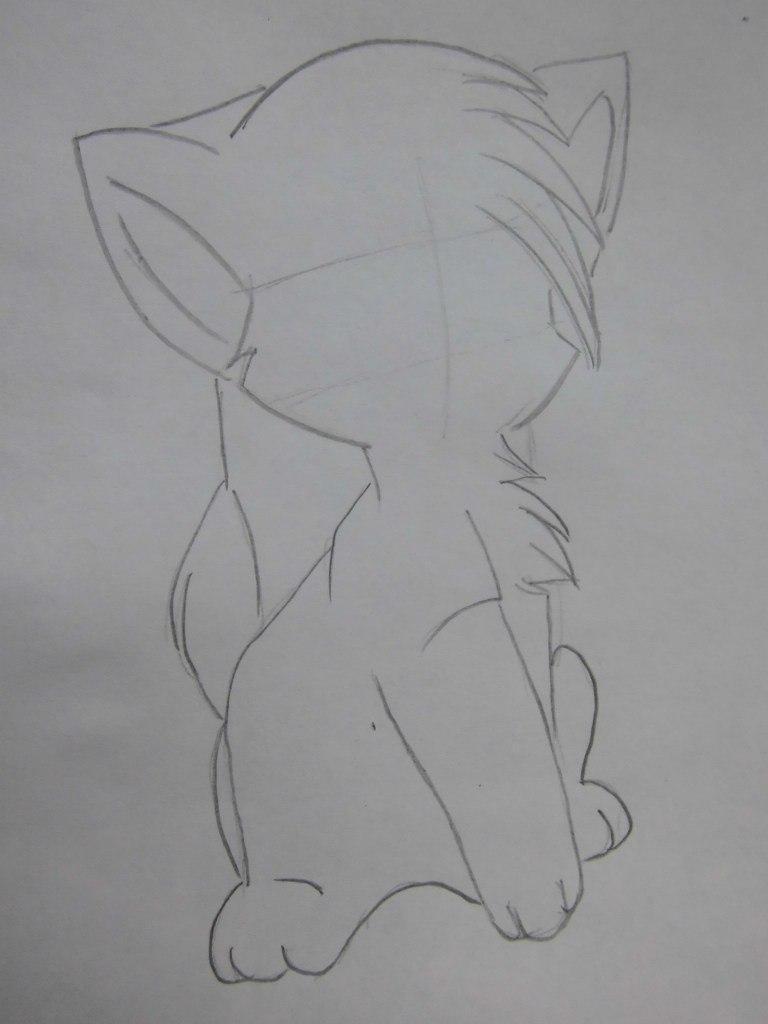 Рисуем аниме кошку - шаг 2