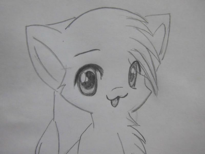 Рисуем аниме кошку - шаг 4