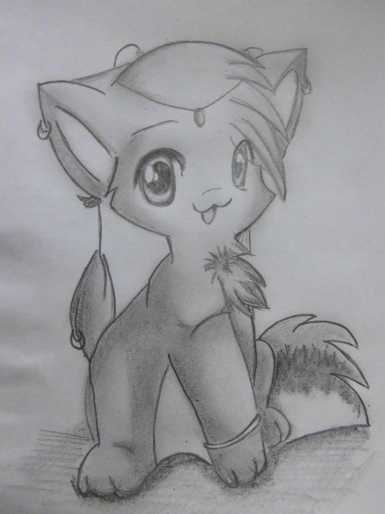 Рисуем аниме кошку - шаг 7