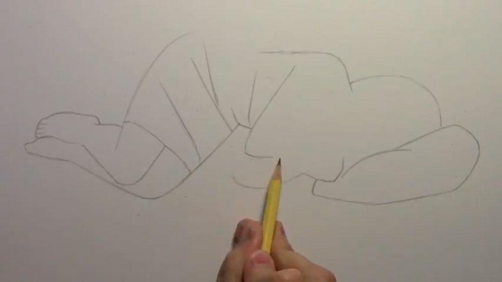 Рисуем лежащую на кровати аниме девушку - шаг 2